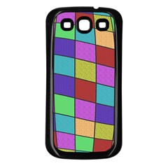 Colorful cubes  Samsung Galaxy S3 Back Case (Black)