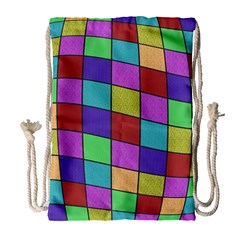 Colorful cubes  Drawstring Bag (Large)