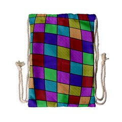 Colorful cubes  Drawstring Bag (Small)