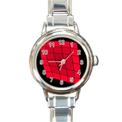 Red abstraction Round Italian Charm Watch