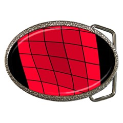 Red abstraction Belt Buckles