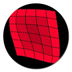 Red abstraction Magnet 5  (Round)