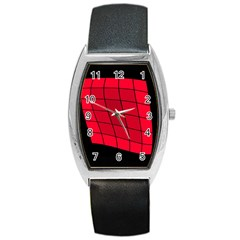 Red abstraction Barrel Style Metal Watch