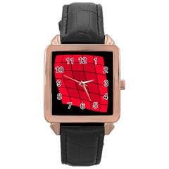 Red abstraction Rose Gold Leather Watch