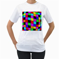 Colorful cubes  Women s T-Shirt (White) (Two Sided)