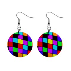 Colorful cubes  Mini Button Earrings