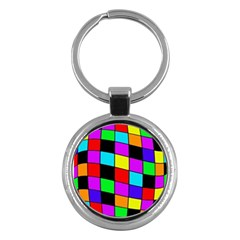Colorful cubes  Key Chains (Round)
