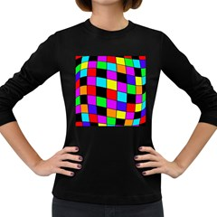 Colorful cubes  Women s Long Sleeve Dark T-Shirts