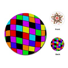 Colorful cubes  Playing Cards (Round)