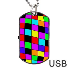 Colorful cubes  Dog Tag USB Flash (Two Sides)