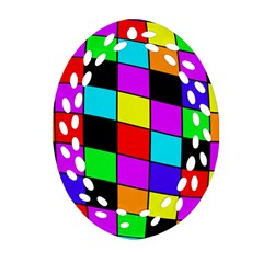 Colorful cubes  Ornament (Oval Filigree)
