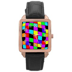 Colorful cubes  Rose Gold Leather Watch