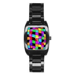 Colorful cubes  Stainless Steel Barrel Watch