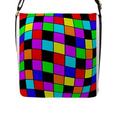 Colorful cubes  Flap Messenger Bag (L)