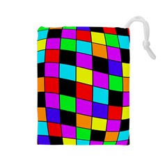 Colorful cubes  Drawstring Pouches (Large)