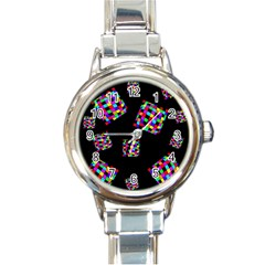Flying  colorful cubes Round Italian Charm Watch