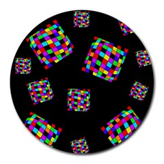 Flying  colorful cubes Round Mousepads