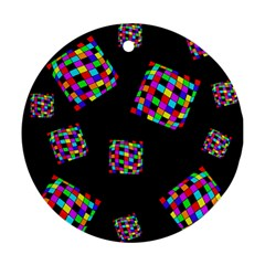 Flying  colorful cubes Ornament (Round)