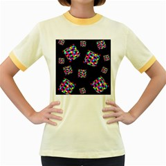 Flying  colorful cubes Women s Fitted Ringer T-Shirts
