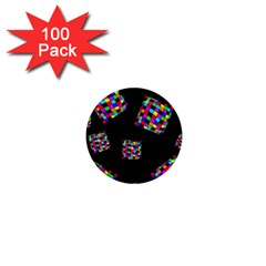Flying  colorful cubes 1  Mini Buttons (100 pack)