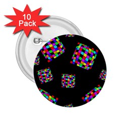 Flying  colorful cubes 2.25  Buttons (10 pack)