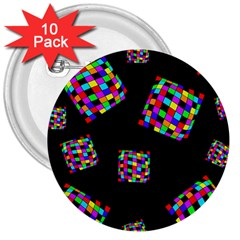 Flying  colorful cubes 3  Buttons (10 pack)