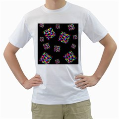 Flying  colorful cubes Men s T-Shirt (White) (Two Sided)