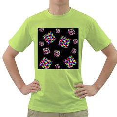 Flying  colorful cubes Green T-Shirt