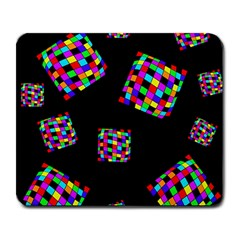 Flying  colorful cubes Large Mousepads