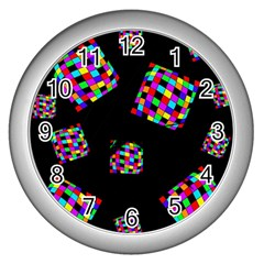 Flying  colorful cubes Wall Clocks (Silver)