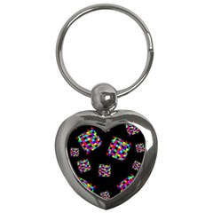 Flying  colorful cubes Key Chains (Heart)