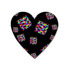Flying  colorful cubes Heart Magnet