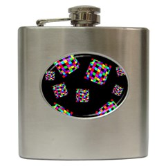 Flying  colorful cubes Hip Flask (6 oz)