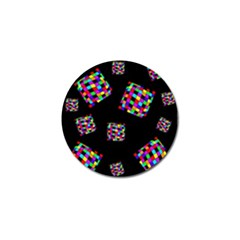Flying  colorful cubes Golf Ball Marker
