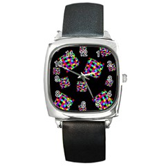 Flying  colorful cubes Square Metal Watch