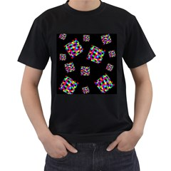 Flying  colorful cubes Men s T-Shirt (Black) (Two Sided)