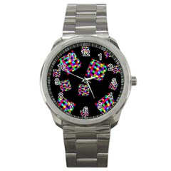 Flying  colorful cubes Sport Metal Watch
