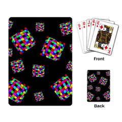 Flying  colorful cubes Playing Card