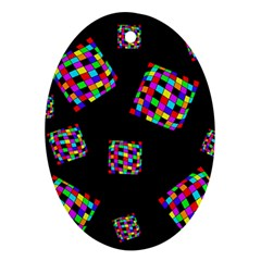 Flying  Colorful Cubes Oval Ornament (two Sides)
