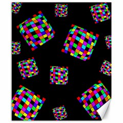 Flying  colorful cubes Canvas 8  x 10