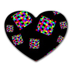 Flying  colorful cubes Heart Mousepads