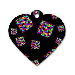 Flying  colorful cubes Dog Tag Heart (One Side)