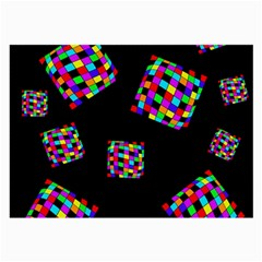 Flying  colorful cubes Large Glasses Cloth