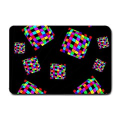 Flying  colorful cubes Small Doormat