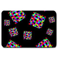 Flying  colorful cubes Large Doormat