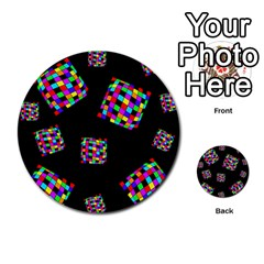 Flying  colorful cubes Multi-purpose Cards (Round)