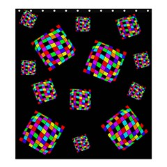 Flying  colorful cubes Shower Curtain 66  x 72  (Large)