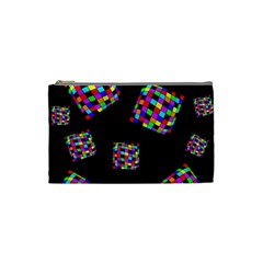 Flying  colorful cubes Cosmetic Bag (Small)