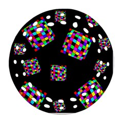 Flying  colorful cubes Round Filigree Ornament (2Side)