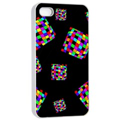 Flying  colorful cubes Apple iPhone 4/4s Seamless Case (White)
